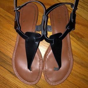 Bamboo Black Flat T-Strap Thong Sandal